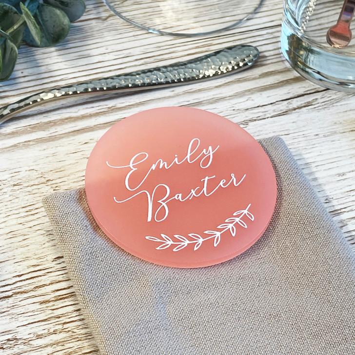 Luxury Leaf Emblem Acrylic Circle Table Name Places
