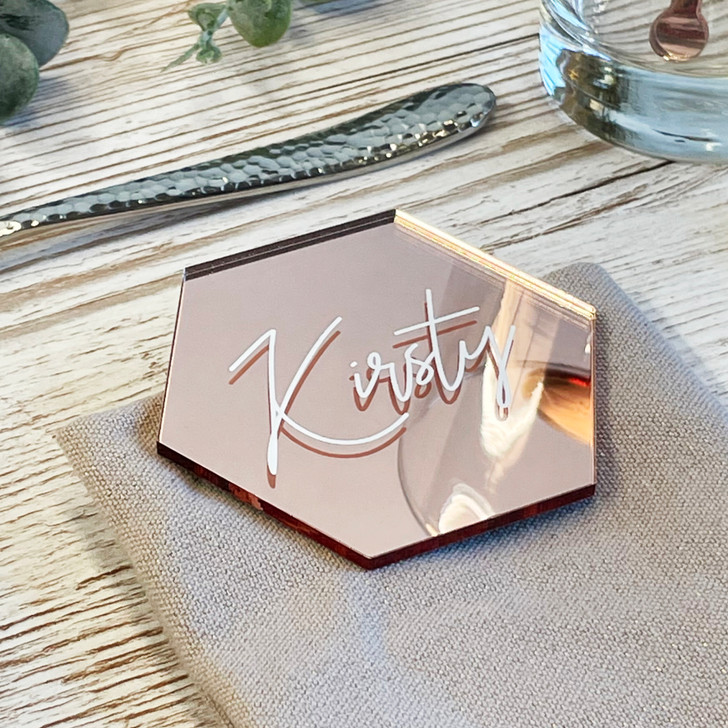 Luxury Acrylic Hexagon Table Name Place Settings