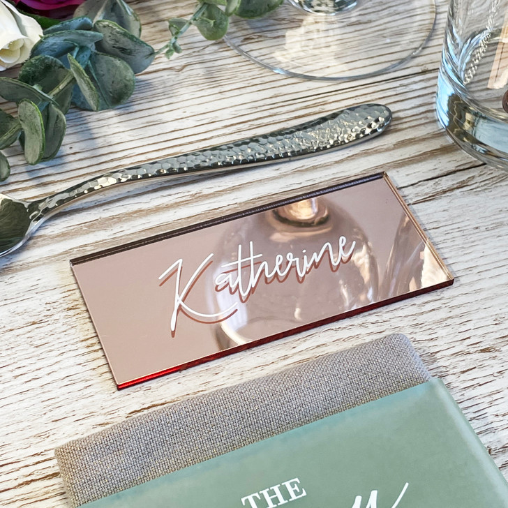 Modern Calligraphy Name Place Acrylic Wedding Placements