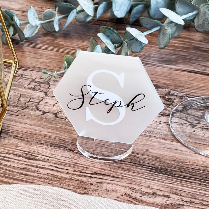 Modern Acrylic Wedding Monogram Name Place Cards