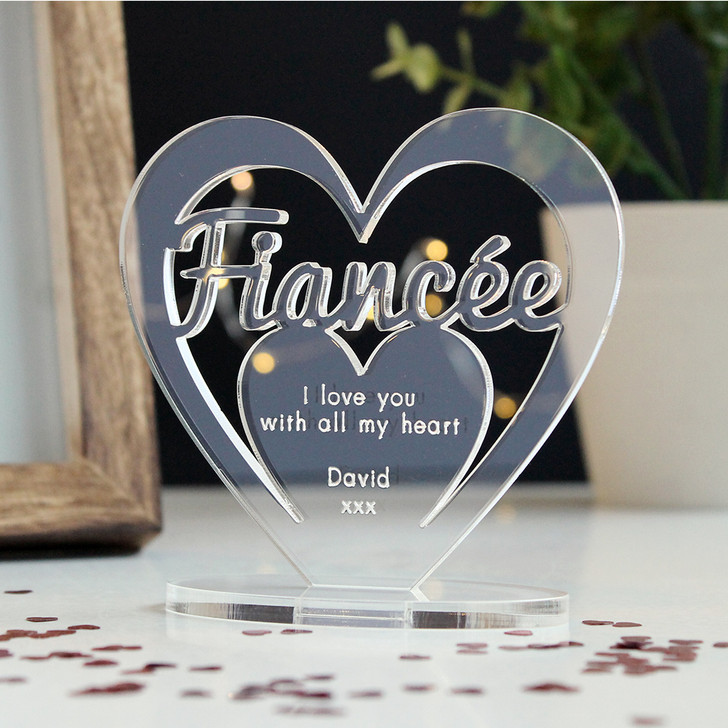 FIANCÉE Personalised Birthday HEART Plaque Gift For Her Keepsake Ornament Christmas Present