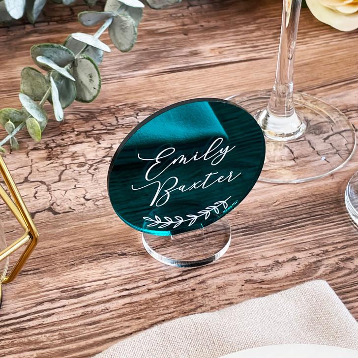 Freestanding Leaf Emblem Acrylic Circle Table Name Places