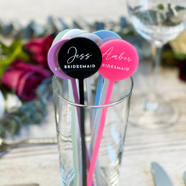 Luxury Acrylic Cocktail Drink Stirrer Name Place Settings