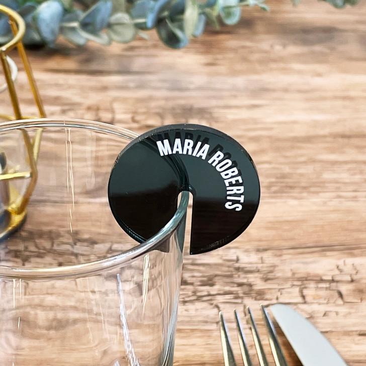 Custom Wine Glass Charm - Name Place Setting
