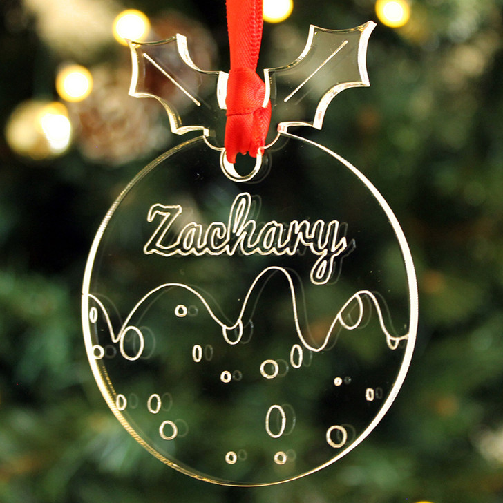 Personalised Christmas Pudding Xmas Bauble Decoration