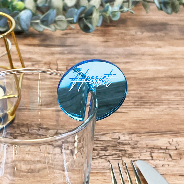 Personalised Acrylic Name Place Wine Cocktail Champagne Glass Charm