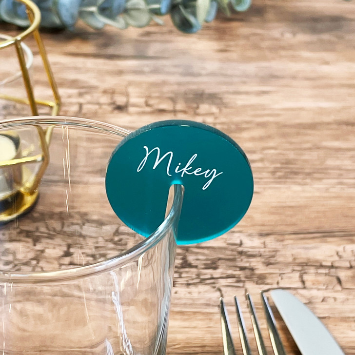 Modern Calligraphy Name Place Drink Charm Wedding Favours