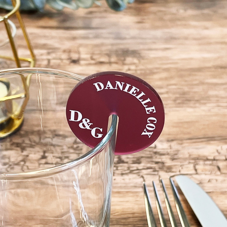Luxury Wedding Drink Name Places - Monogram Cocktail Charms
