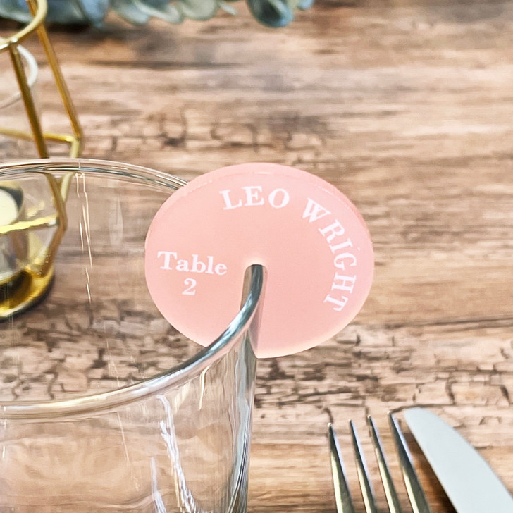 Personalised Acrylic Drink Name Place Tags Wedding Favours