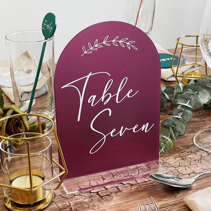 Beautiful Leaf Emblem Wedding Table Number Sign