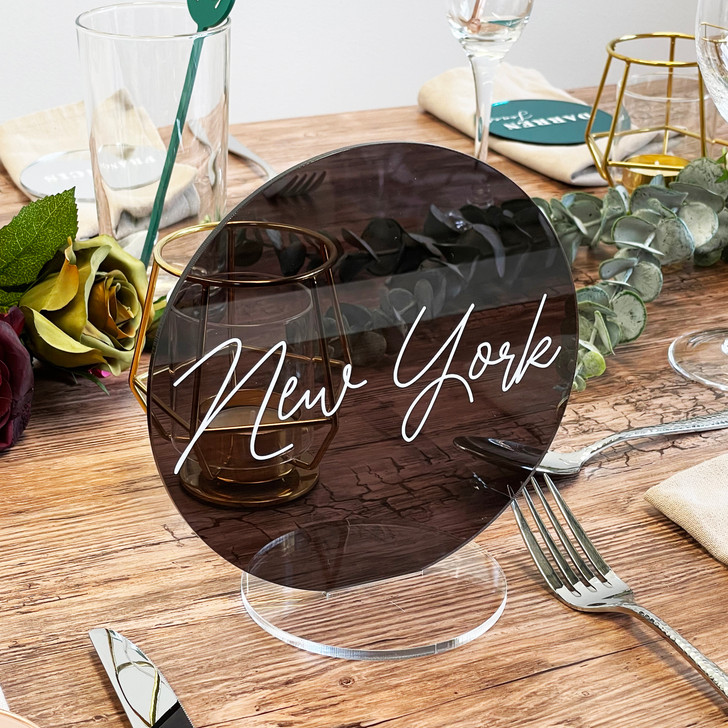 Luxury Personalised Round Acrylic Table Name Signs