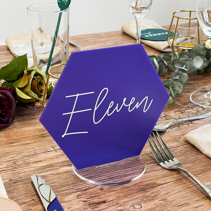 Modern Acrylic Hexagon Table Number Signs for Weddings
