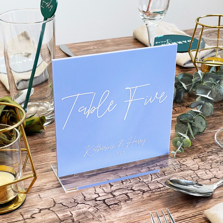 Square Acrylic Table Number Signs With Stands