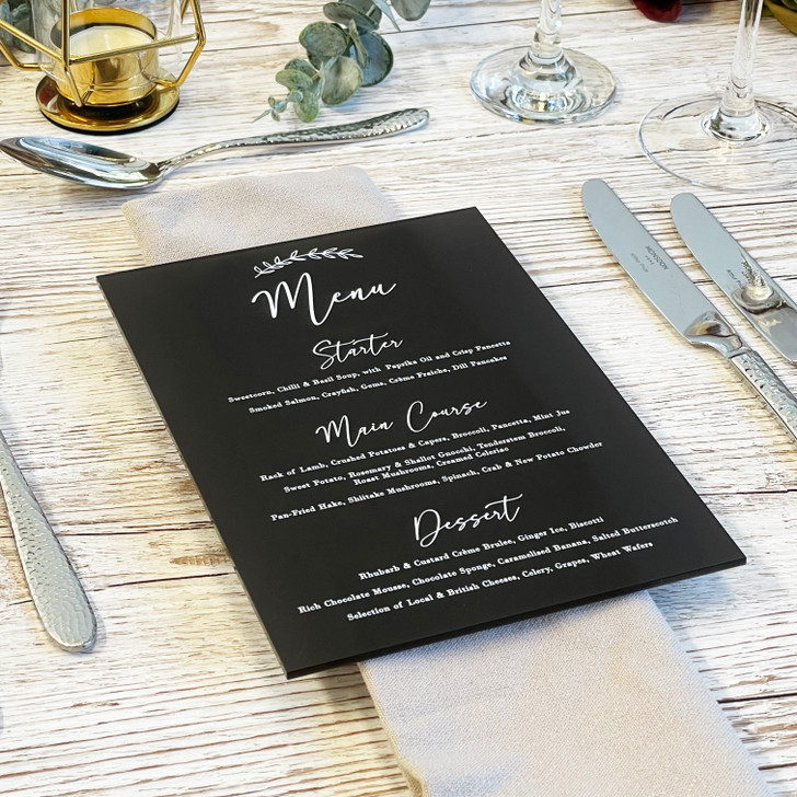 Personalised Leaf Emblem Wedding Menu Card Sign