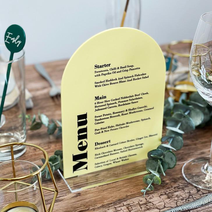 Modern Elegant Wedding & Event Table Menu Signs