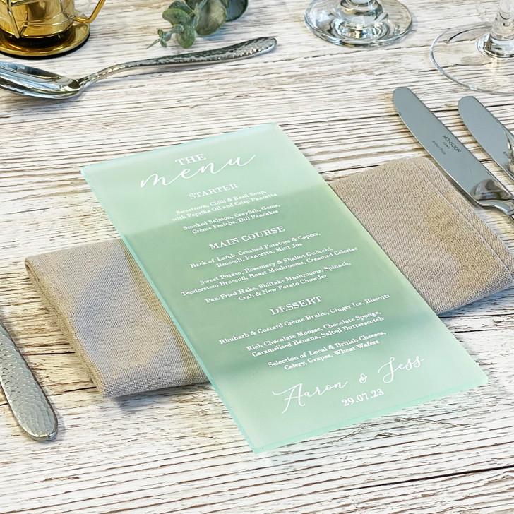 Luxury Acrylic Wedding Menu Cards - Table Décor Sign
