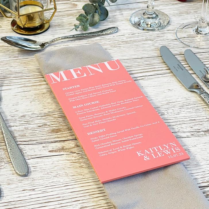 Luxury Modern Acrylic Wedding Food Menu Table Signs