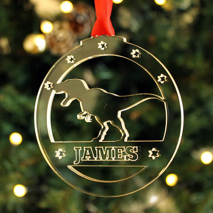 Personalised T-Rex DINOSAUR Xmas Bauble Christmas Tree Decoration Keepsake Gift
