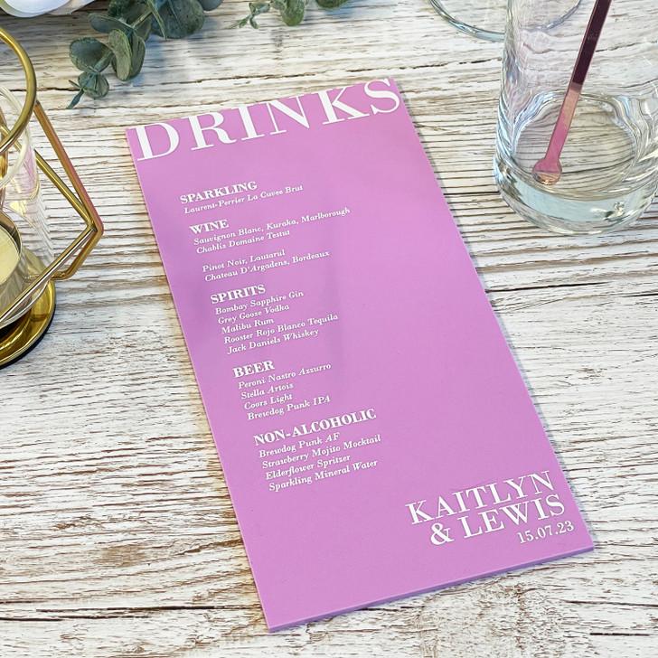 Wedding Drink List Menu - Luxury Acrylic Table Drink Menu