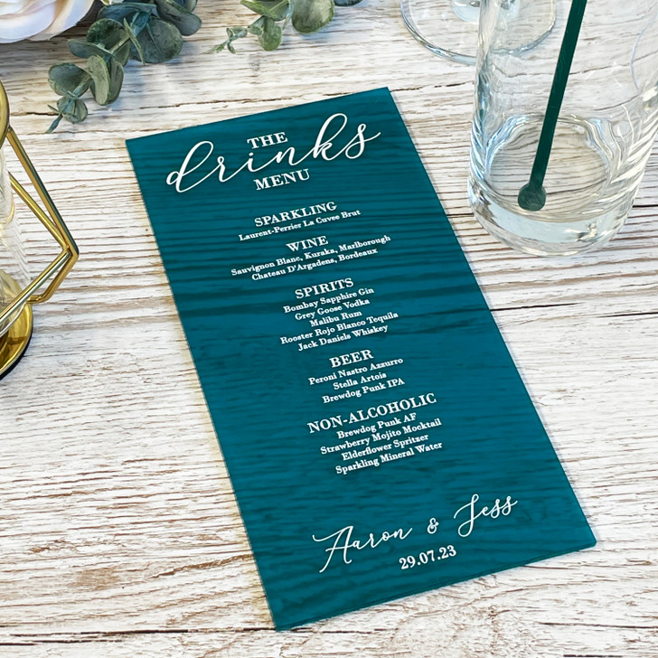 Luxury Drinks Menu for Wedding & Events Table Décor