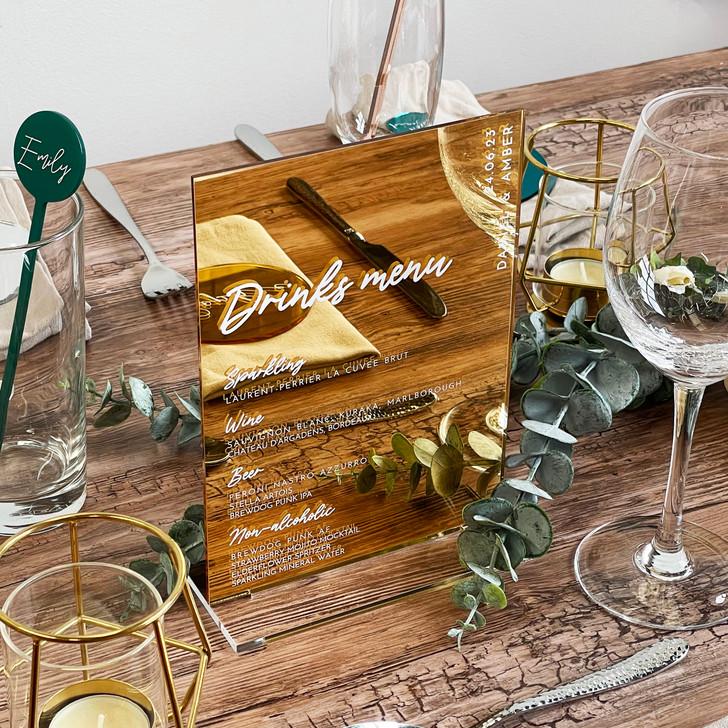 Luxury Acrylic Drinks List Menu - Wedding Table Décor Sign