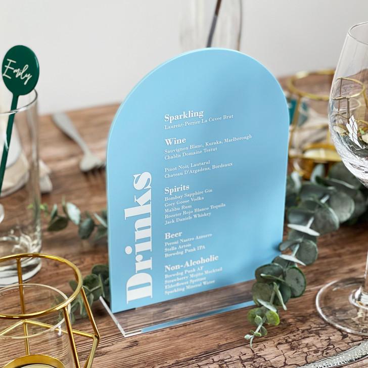 Modern Acrylic Wedding Drinks List Menu Sign