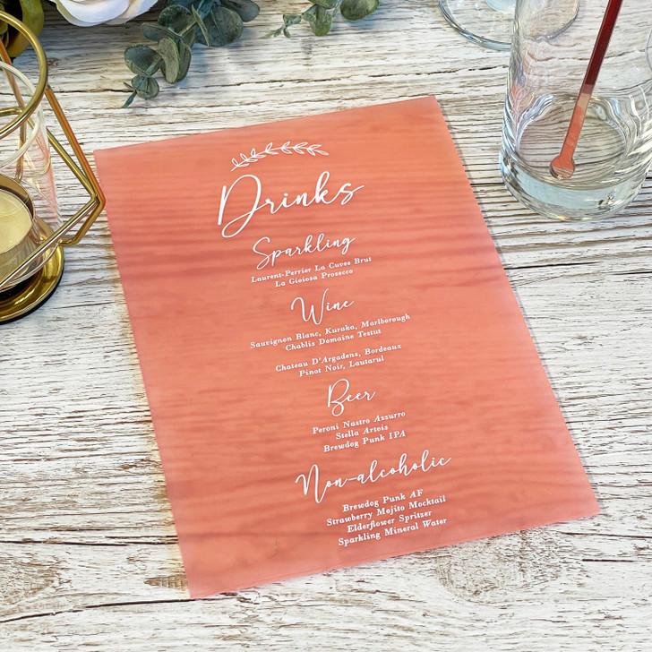 Personalised Leaf Emblem Wedding Drink Menu List Sign