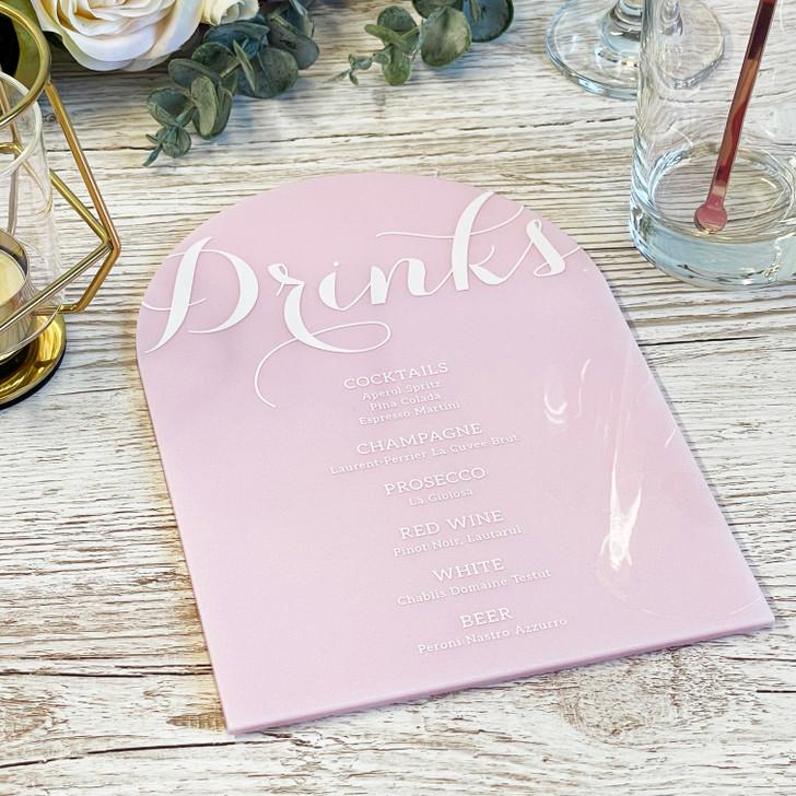 Luxury Wedding Table Décor Acrylic Drink Menu Sign
