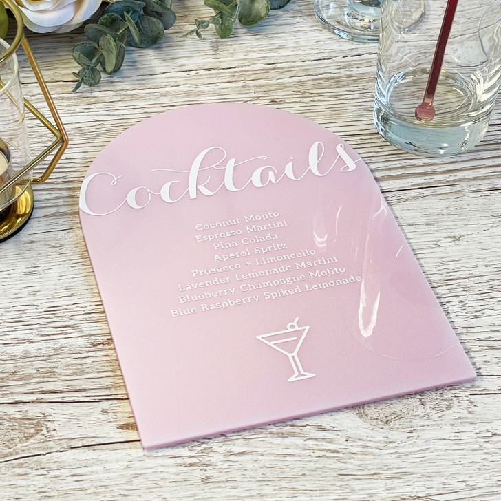 Luxury Wedding Table Décor Acrylic Cocktail Menu List Sign