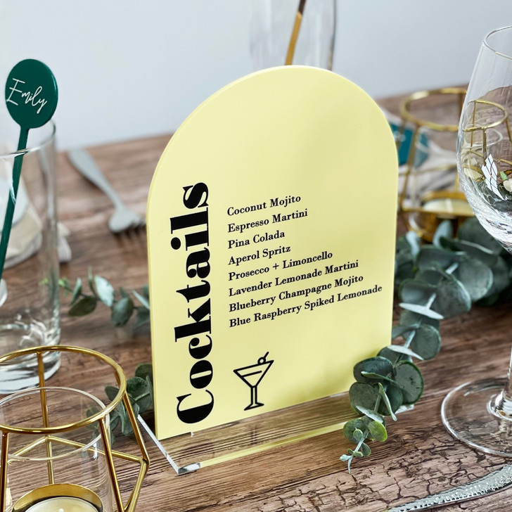 Cocktail List Wedding Bar Menu Sign