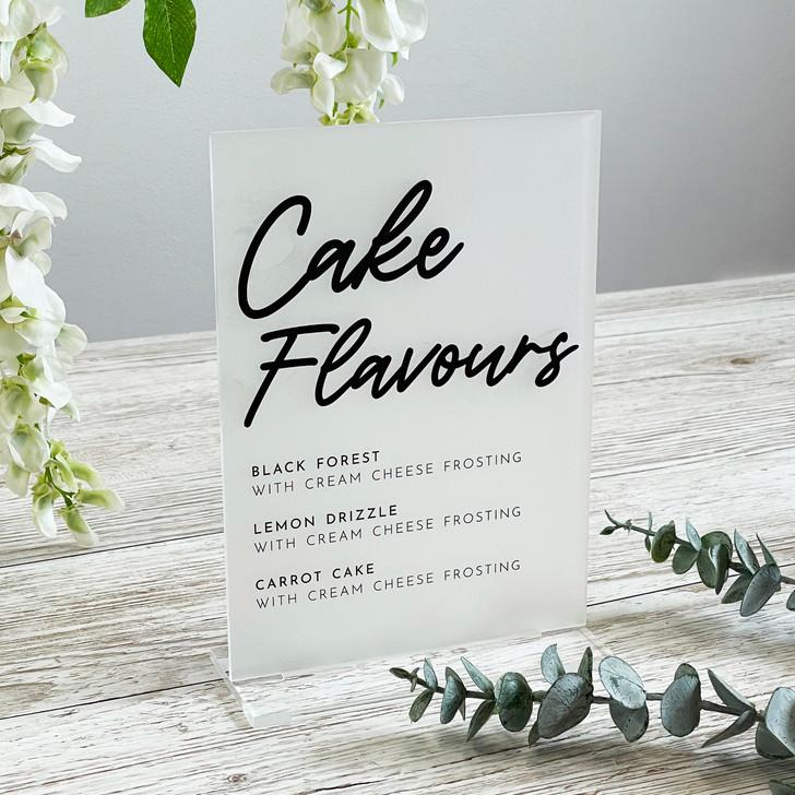 Wedding Cake Flavour Options Acrylic Sign
