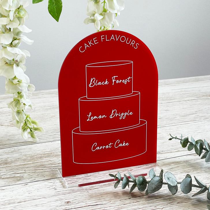 3 Tier Cake Menu Flavour Sign for Wedding Reception