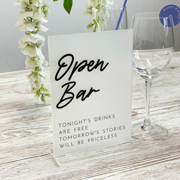 Acrylic Open Bar Sign for Weddings & Events
