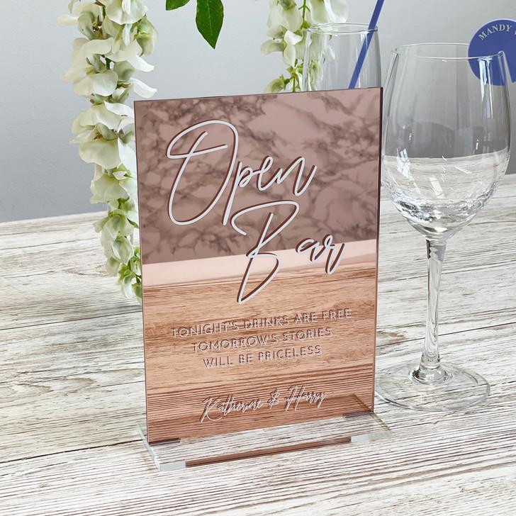Luxury Acrylic Open Bar Wedding Décor Sign