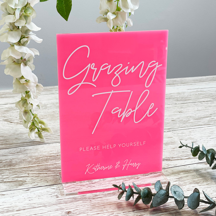 Luxury Acrylic Grazing Table Food Sign for Weddings & Events