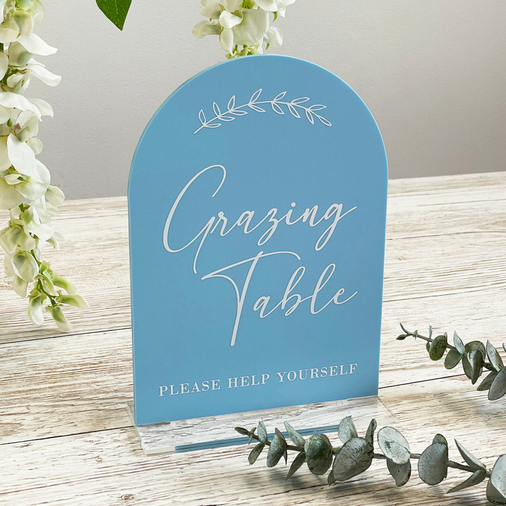 Leaf Emblem Grazing Table Food Sign for Wedding Reception
