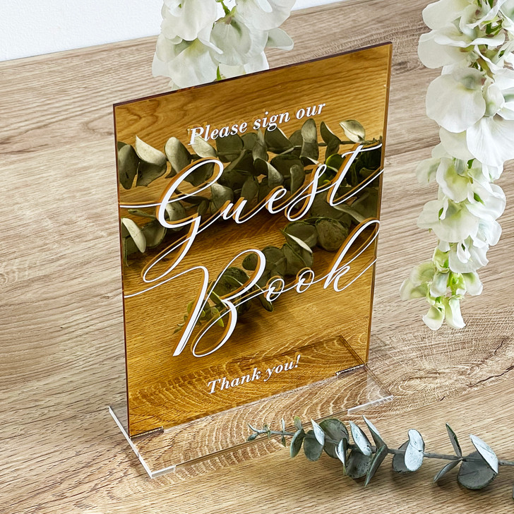 Wedding Reception Guest Book Sign - Freestanding Table Sign