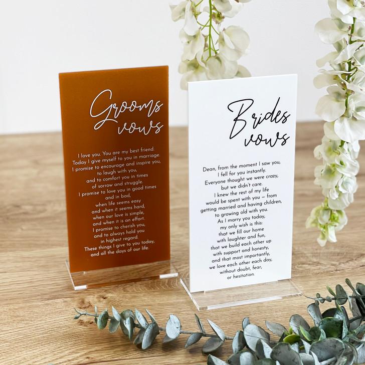 Luxury Acrylic Wedding Vow Board Plaque