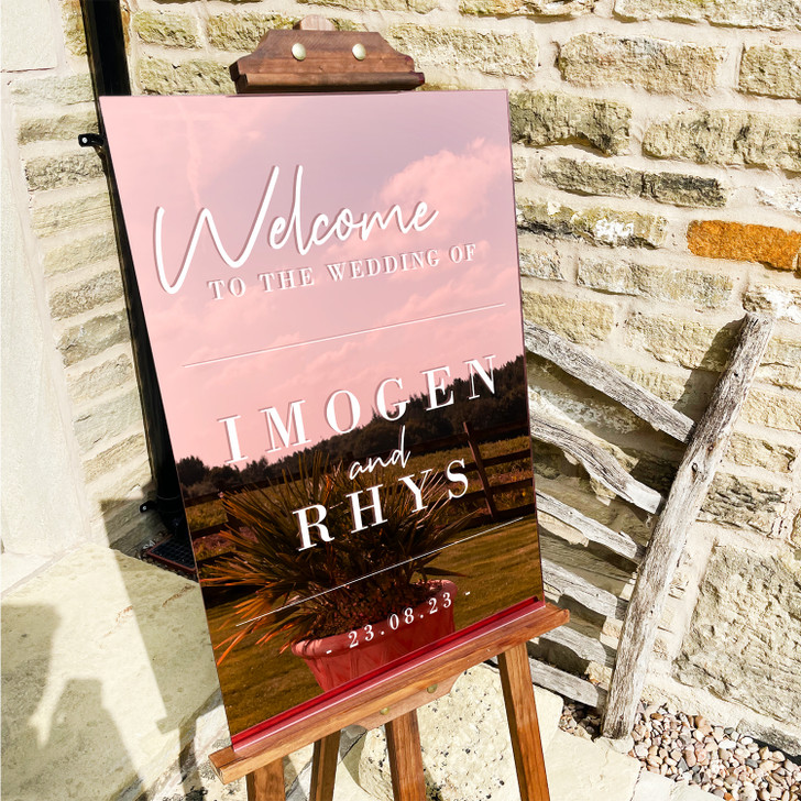 Modern Acrylic Welcome To Our Wedding Sign with Names & Date