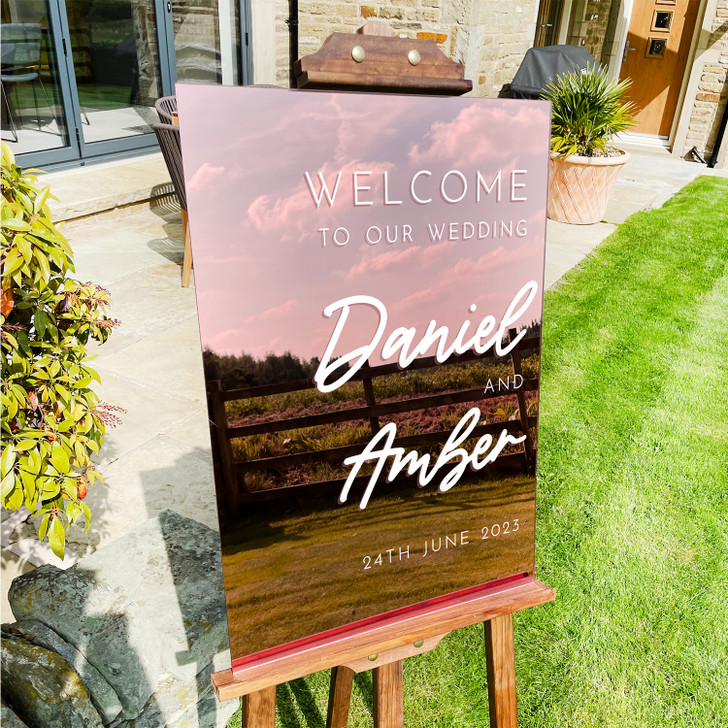 Customised Large Acrylic Wedding Welcome Sign in A2 or A3