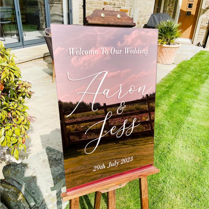 Custom Calligraphy Acrylic Wedding Welcome Sign with Names & Date