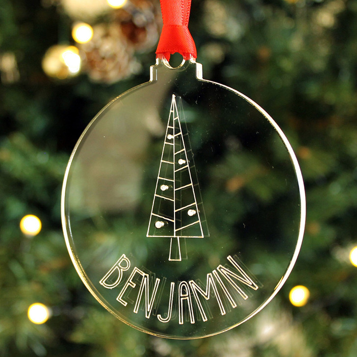 Personalised CHRISTMAS TREE Decoration Engraved Bauble