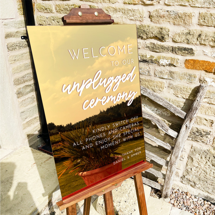 Welcome To Our Unplugged Ceremony Sign, No Photos Please Wedding Sign