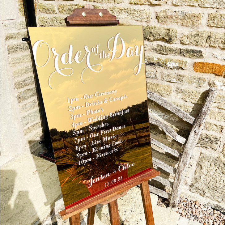 Luxury Custom Order Of The Day Wedding Ceremony Sign