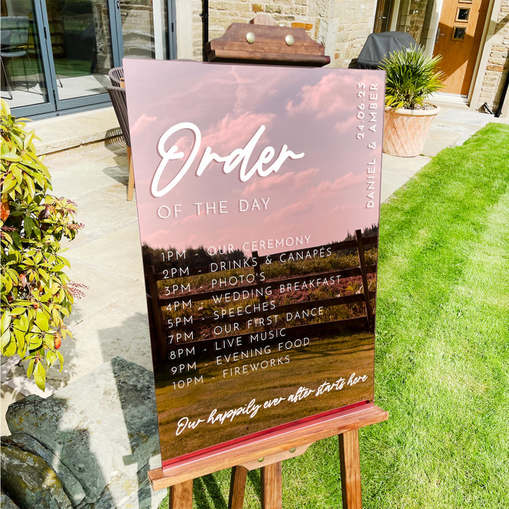 Modern Acrylic Order Of The Day Wedding Sign Timeline