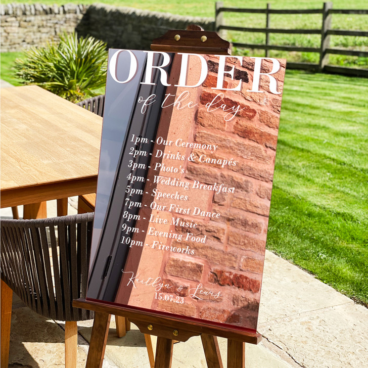Modern Acrylic Order Of The Day, Order Of Service Wedding Ceremony Sign
