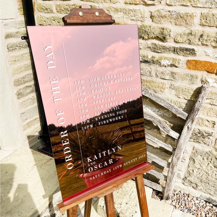 Luxury Minimalist Order Of The Day Acrylic Wedding Ceremony Sign