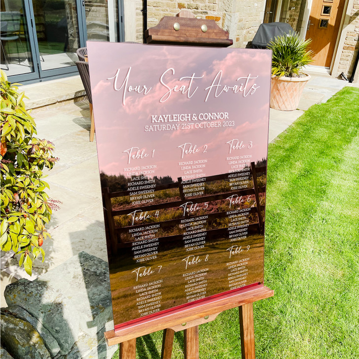 Luxury Acrylic Wedding Table Seating Plan A2 A3 in 40 Colours