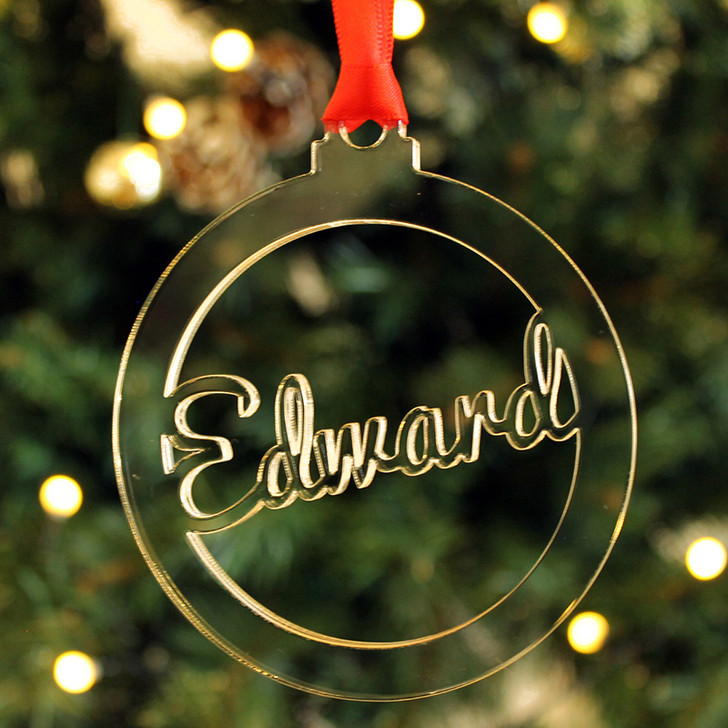Personalised ANY NAME Christmas Tree Decoration Clear Bauble