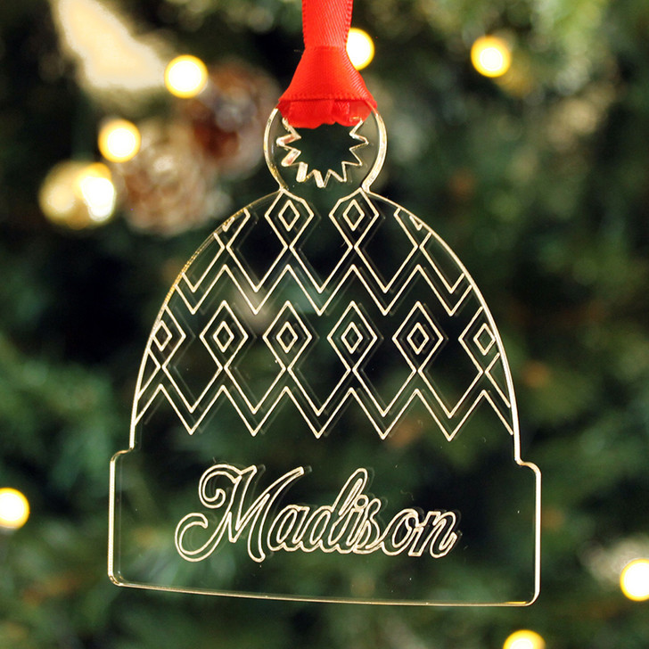Personalised WOOLY HAT Christmas Tree Decoration Bauble